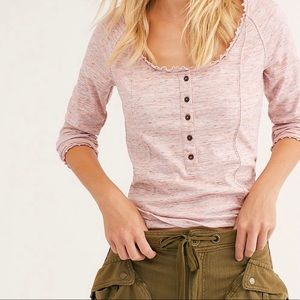 Pink free people Henley